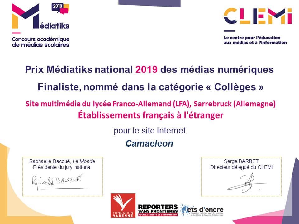 Camäléon im Finale des Médiatiks-Wettbewerbs