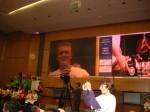 """Jan Wojtysiak (Klasse 8SL2) performt seinen """"Saarbahn-Rap"""""""