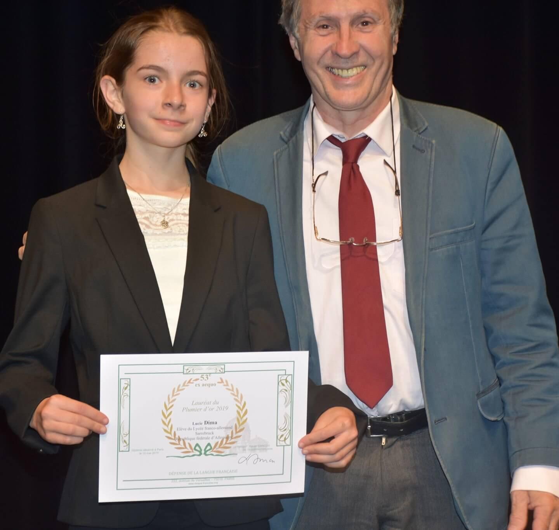 Lucie Dima bei der Preisverleihung des Plumier d'or 2019 in Paris