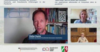 """DFG-Schulleiter Stefan Hauter bei Online-Podiumsdiskussion """"Rückkehr der Grenzen? Deutsche und französische Erfahrungen in der Pandemie"""""""