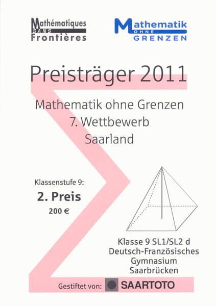 """Klasse 9SL1/SL2 erfolgreich bei """"Mathematik ohne Grenzen"""" 2011"""